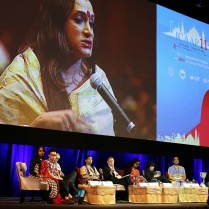 Throughout the Congress, voices of key communities were elevated. The 2013 event saw the largest and most vocal participation of transgender people. Here, well-known transgender rights activist, Laxmi Narayan Tripathi, is pictured during an intervention in one of the plenaries. Credit: UNAIDS/W.Tri-yasakda