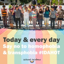 The International Day Against Homophobia and Transphobia may be over for another year but #schoolrainbow will continue to raise awareness of bullying of LGBT students in Thailand and elsewhere.