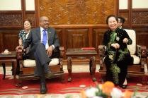 UNAIDS Executive Director Michel Sidibé and Vice President Nguyen Thi Doan
