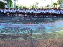 Over 2000 students at Wat Nuannoradit school stood in front of our #schoolrainbow for morning assembly on the first day back to school on 16 May. They listened intently as the Deputy Head Teacher spoke of tolerance and we told them more about School Rainbow's anti-bullying campaign.