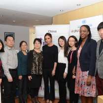 UNAIDS international goodwill ambassador Victoria Beckham with UNAIDS China country office team.
