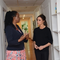 Everyone has the right to a life of dignity. - Victoria Beckham, UNAIDS Goodwill Ambassador with Catherine Sozi, UNAIDS Country Director, at her country visit to ‪China‬.